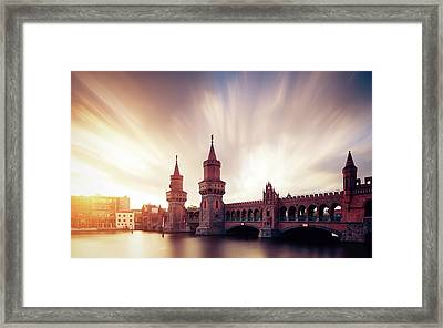 Berlin Oberbaum Bridge With Dramatic Sky Framed Print by Spreephoto.de