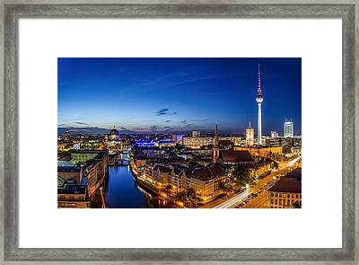 Berlin Skyline At Blue Hour 1 Framed Print