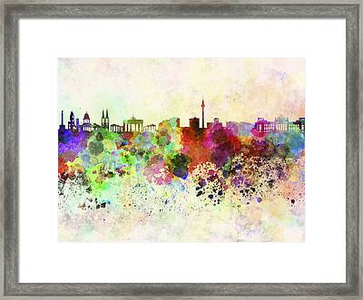 Berlin Skyline In Watercolor Background Framed Print by Pablo Romero