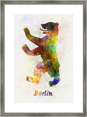 Berlin Symbol In Watercolor Framed Print by Pablo Romero