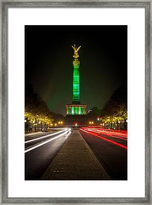 Berlin Victory Column In Green Light Framed Print by Robert Frank
