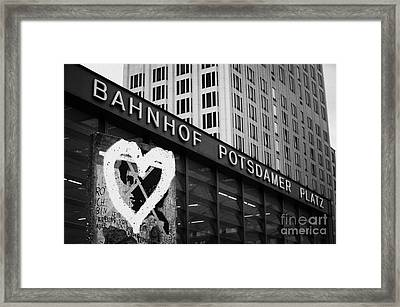 Berlin Wall Section With Heart Grafitti Outside Potsdamer Platz Train Station Berlin Germany Framed Print