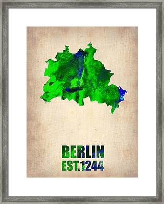 Berlin Watercolor Map Framed Print by Naxart Studio