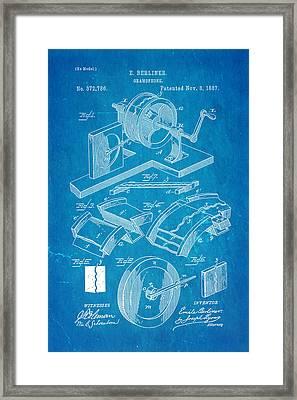 Berliner Gramophone Patent Art 1887 Blueprint Framed Print