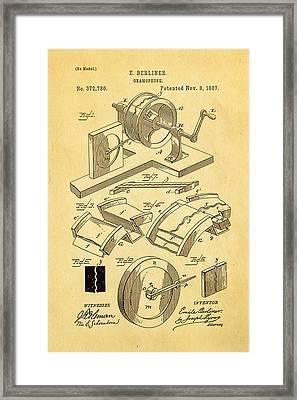 Berliner Gramophone Patent Art 1887 Framed Print