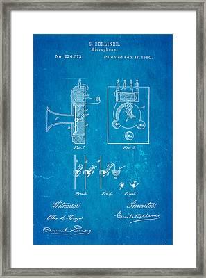Berliner Microphone Patent Art 1880 Blueprint Framed Print