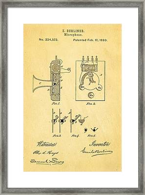 Berliner Microphone Patent Art 1880 Framed Print by Ian Monk