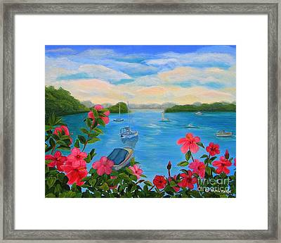 Bermuda Hibiscus - Bermuda Seascape With Boats And Hibiscus Framed Print