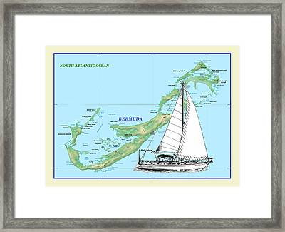 Bermuda Chart Art Framed Print