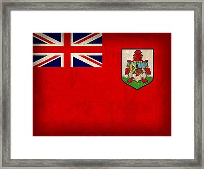 Bermuda Flag Vintage Distressed Finish Framed Print by Design Turnpike