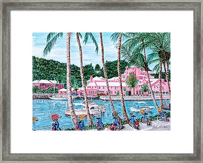 Framed Print featuring the painting Bermuda Pink Hotel by Val Miller