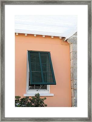Bermuda Shutters Framed Print by Ian  MacDonald