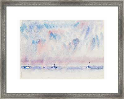 Bermuda Sky And Sea With Boats Framed Print by Charles Demuth
