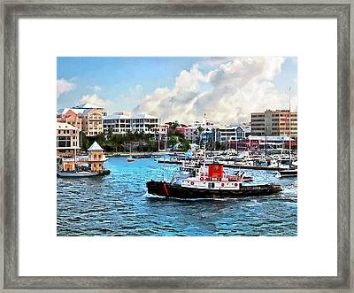 Bermuda - Tugboat Going Into Hamilton Harbour Framed Print by Susan Savad