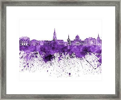 Bern Skyline In Purple Watercolor On White Background Framed Print