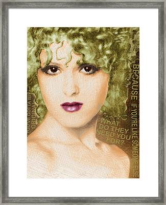 Bernadette Peters Gold And Quote Framed Print by Tony Rubino