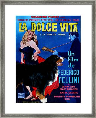 Bernese Mountain Dog Art Canvas Print - La Dolce Vita Movie Poster Framed Print