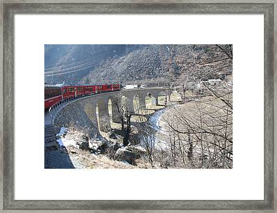 Framed Print featuring the photograph Bernina Express In Winter by Travel Pics
