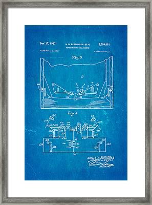 Berninger Reprojecting Ball Bumper 2 Patent Art 1967 Blueprint Framed Print by Ian Monk