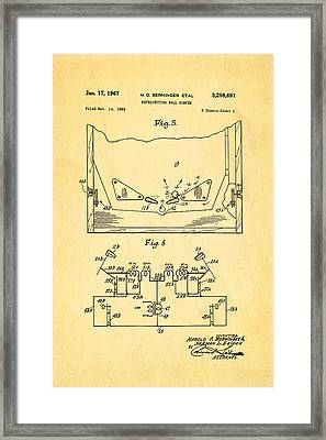 Berninger Reprojecting Ball Bumper 2 Patent Art 1967 Framed Print