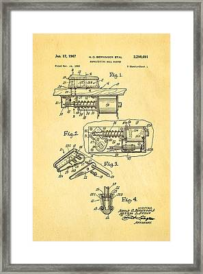 Berninger Reprojecting Ball Bumper Patent Art 1967 Framed Print