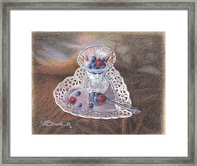 Berries And Cream Framed Print by Lidia Penczar