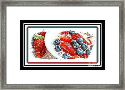 Berries And Yogurt Illustration - Food - Kitchen Framed Print by Barbara Griffin