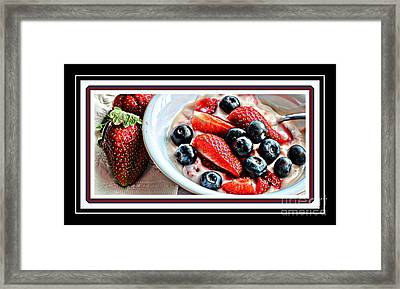 Berries And Yogurt Intense - Food - Kitchen Framed Print by Barbara Griffin
