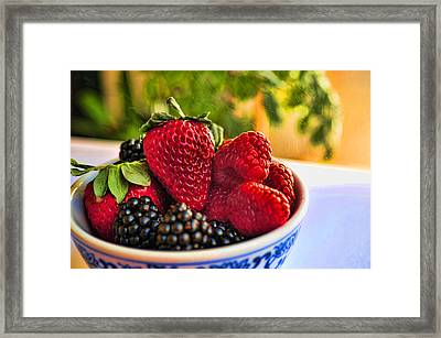 Berries In A Bowl Framed Print by Don Bendickson