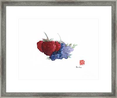 Berries Red Pink Black Blue Fruit Blueberry Blueberries Raspberry Raspberries Fruits Watercolors  Framed Print by Johana Szmerdt