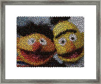 Bert And Ernie Bottle Cap Mosaic Framed Print by Paul Van Scott