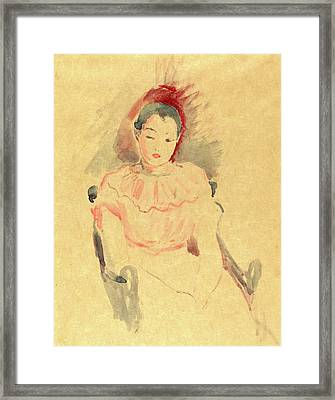 Berthe Morisot, French 1841-1895, Girl Seated Framed Print by Litz Collection