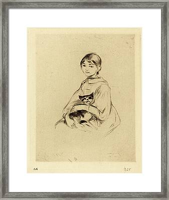 Berthe Morisot French, 1841 - 1895, Little Girl With Cat Framed Print by Quint Lox