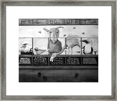 Bert's Bug Buffet Bw Framed Print by Leah Saulnier The Painting Maniac