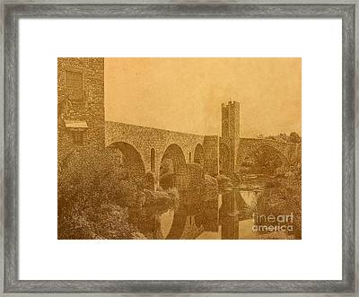 Framed Print featuring the photograph Besalu Bridge by Nigel Fletcher-Jones