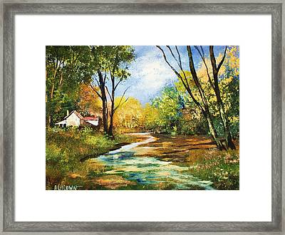 Framed Print featuring the painting Beside The Stream by Al Brown