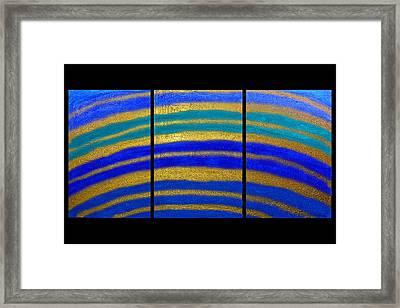 Best Art Choice Award Original Abstract Oil Painting Modern Blue Contemporary House Deco Gallery Framed Print by Emma Lambert