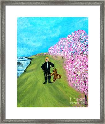 Framed Print featuring the painting Best Friends. Painting. Promotion by Oksana Semenchenko