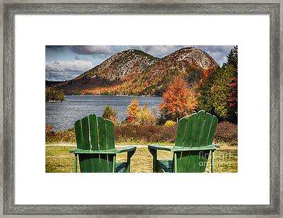 Best Seats In Acadia Framed Print by George Oze