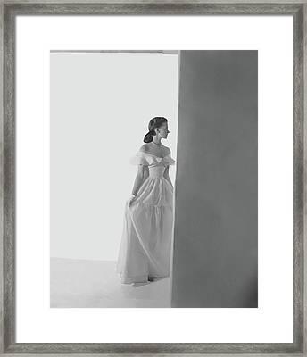 Bethel Leslie Wearing An Off-the-shoulder Dress Framed Print