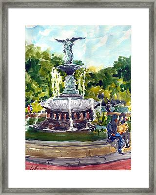 Bethesda Fountain At Central Park Framed Print by Chris Coyne