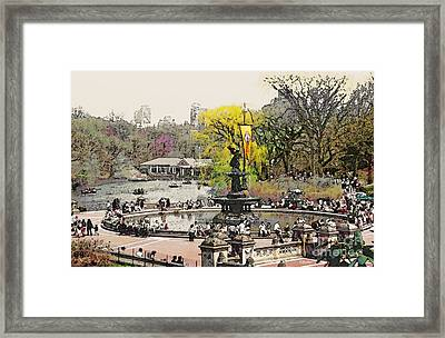 Bethesda Fountain Central Park Nyc Framed Print by Linda  Parker