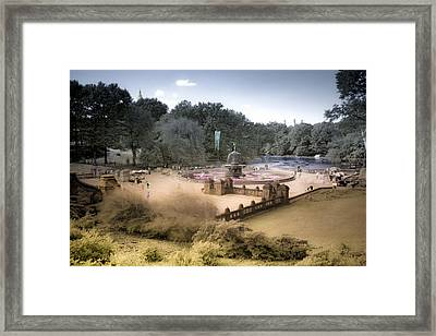Framed Print featuring the photograph Bethesda Plaza Painted Color by Dave Beckerman