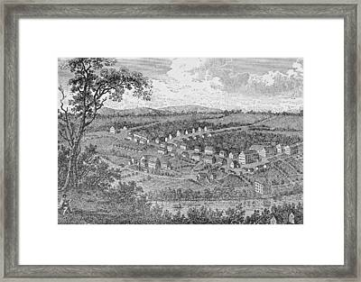 Bethlehem, A Moravian Settlement In Pennsylvania, From The Pageant Of America Framed Print by American School