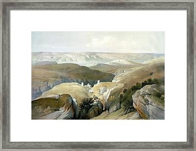Bethlehem Desert. The Road To Mar Saba Convent In Bethlehem Framed Print