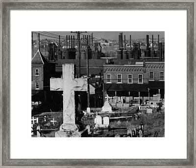 Bethlehem Graveyard And Steel Mill Pennsylvania Framed Print by Historic Photos