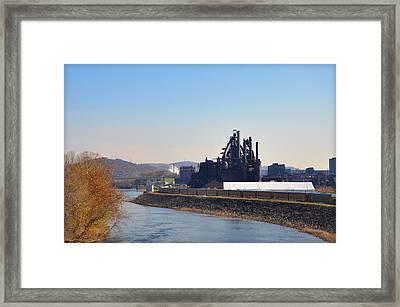 Bethlehem Steel And The Lehigh River Framed Print