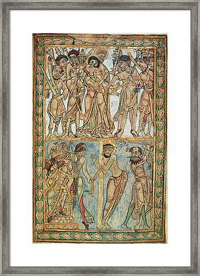 Betrayal And Flagellation Framed Print by British Library