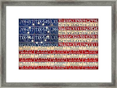 Betsy Ross American Flag Michigan License Plate Recycled Art On Red Board Framed Print