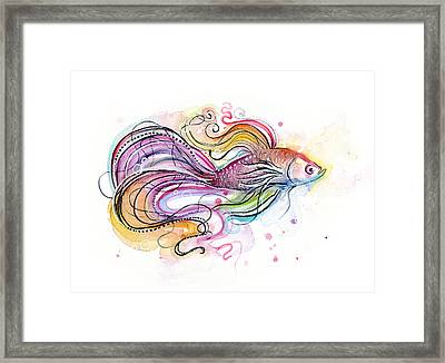 Betta Fish Watercolor Framed Print